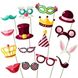 Party Photo Booth Props - Fully Assembled, No DIY Required - Mix of Hats, Lips, Crowns, Mustaches and More (16 pcs) - Durable and Vibrant - Perfect for Birthday Parties, Weddings and More