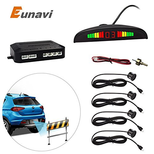 Reverse Parking Sensor, Eunavi Universal Car Vehicle Backup Auto Radar Detectors System LED Display+High-volume Warning Buzzer+4 Black Parking Sensors Reversing kit