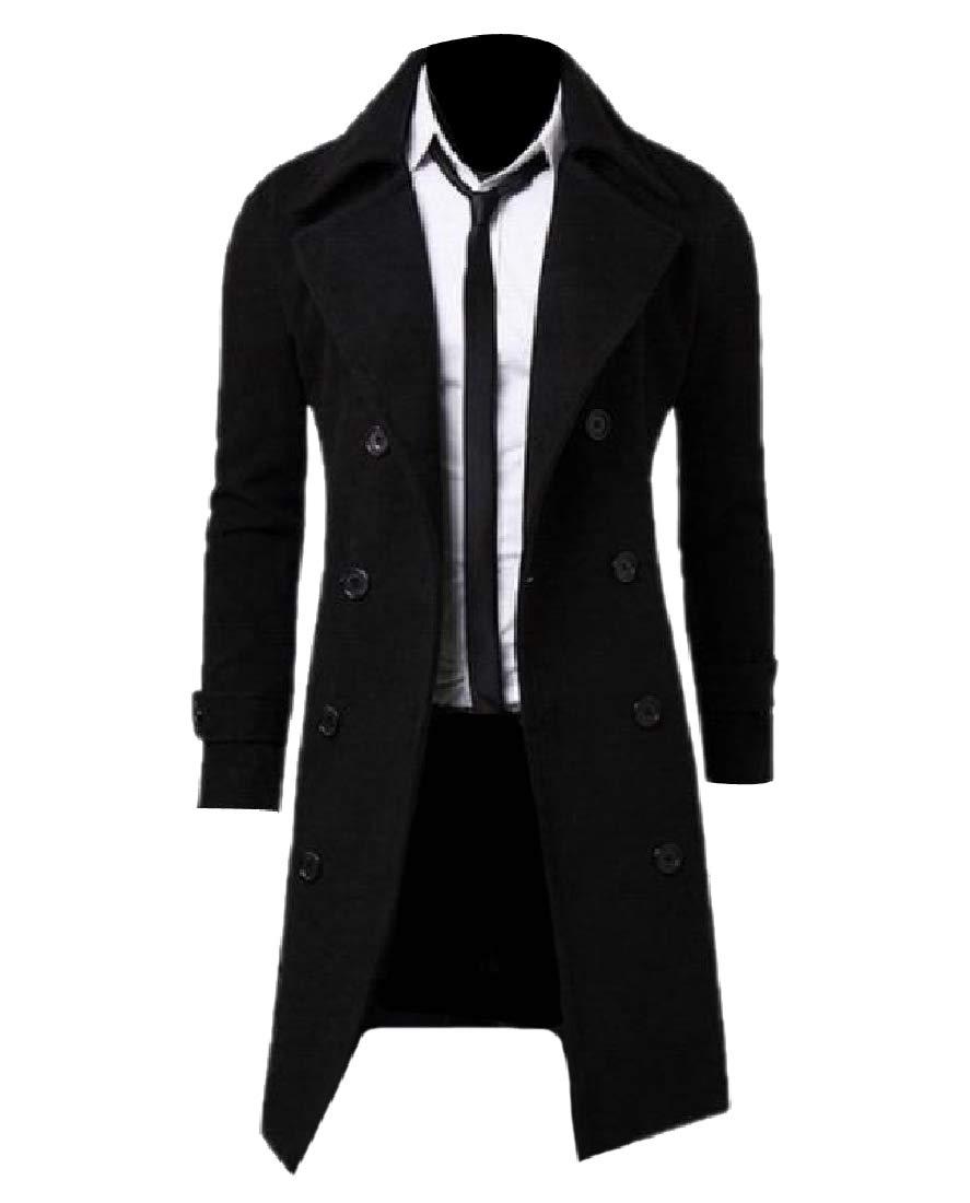 Zimase Men's Woolen Solid Color Jacket Coat Mid Long Fall Winter Outwear