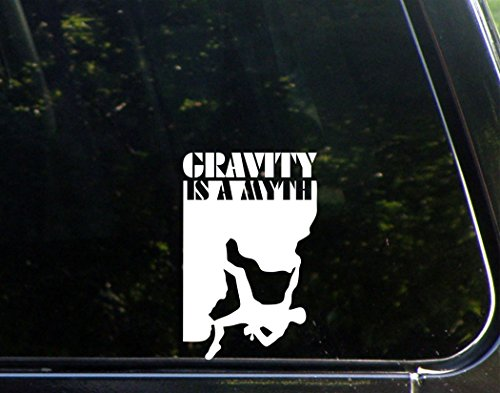"Sweet Tea Decals Gravity is A Myth Rock Climber- 3 3/4"" x 5 3/4"" - Vinyl Die Cut Decal/Bumper Sticker for Windows, Trucks, Cars, Laptops, Macbooks, Etc."