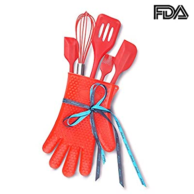 Gift Set of 6 Heat Resistant Food Grade Silicon Cooking Utensils, Large and Small Spatulas, Whisk, Brush, Slotted turner, Kitchen glove, Cherry Red from NWK