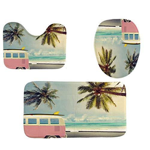 - Toilet mats Set Fiaya 3Pcs /4PCS Beach Hawaii Landscape Ocean Polyester Bathroom Set Rug Contour Mat+Toilet Lid Cover +Plan Solid Color Bath Mats +Shower Curtain (3PCS, House Coconut Tree)