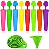 Popsicle Molds Set with Collapsible Funnel, SENHAI 8 Packs Silicone Ice Pop Ice Cream Makers, with 1 Green Folding Funnel for Fluid Transferring