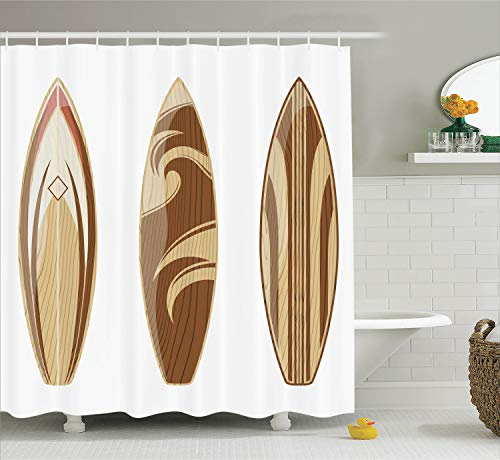 Ambesonne Surfboard Decor Collection, Wooden Surfboards Adventurous Wood Color Natural Classic Design, Polyester Fabric Bathroom Shower Curtain Set with Hooks, Peru Cream Tan
