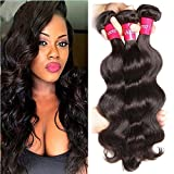 Sunber Hair Unprocessed Raw Virgin Brazilian Body Wave Black, Long Lasting Real Brazilian Wavy Hair Extensions Virgin Human Hair, Mixed Length 12 14 16inches