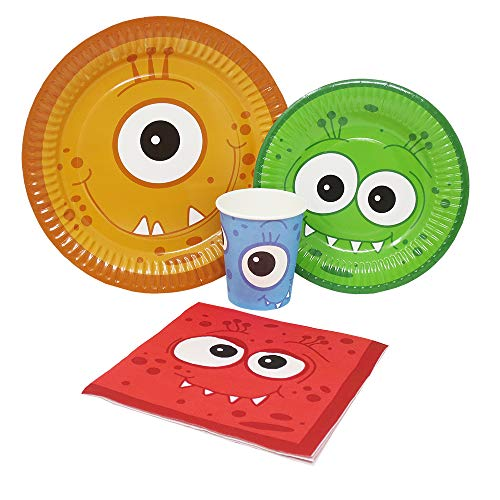 Blue Orchards Monster Party Standard Party Packs (65+ Pieces for 16 Guests!), Monster Party Tableware, Halloween Party -