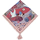 Kingree 100% Cotton Muffler, Warm Scarf with Tassel, Russian Style Large Bandana, Wrap Shawl Stole With Fringes (JF10-Light Pink)