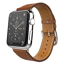 Apple Watch Band Series 1 Seris 2, MoKo Luxury Genuine Leather Smart Watch Band Strap Single Tour Replacement for 42mm Apple Watch Models, BROWN (Not Fit 38mm Versions)