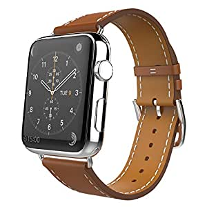 MoKo Band for Apple Watch Series 1 Series 2, Luxury Genuine Leather Smart Watch Band Strap Single Tour Replacement for 42mm Apple Watch 2015 & 2016 All Models, BROWN (Not Fit 38mm Versions)
