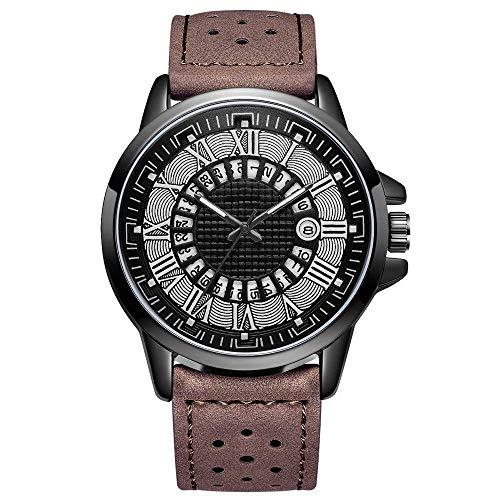 BEWITCHYU Practical Wristwatches Roman Glass and Microfiber Waterproof Calendar Men 's Sports Belt Quartz Watch for Male Decorative Watch BraceletBrass