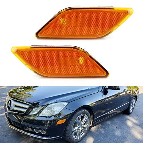 iJDMTOY OEM-Spec Amber Lens Front Bumper Side Marker Lamp Housings For 2010-2013 Mercedes W212 Pre-LCI E-Class E350 E550 E63 AMG Sedan/Coupe (Side Lens Marker Front 73)