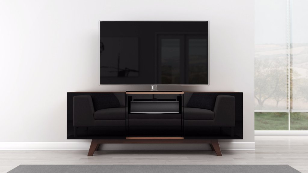 Furnitech 70 Black Lacquer Media Console 70 inch modern TV stand for flat screen and audio video installations, Engineered Wood