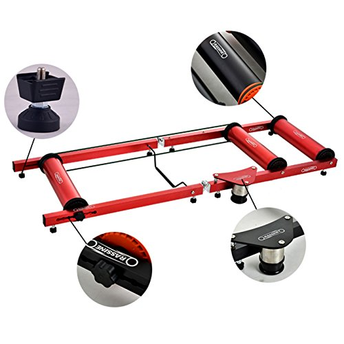 YaeTek Premium Indoor Bicycle Bike Roller Rollers Trainer,Upgraded(Red)