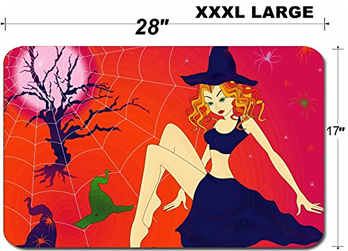 Liili Large Table Mat Non-Slip Natural Rubber Desk Pads IMAGE ID 32883701 Elegant Halloween girl with green eyes among sinister cobwebs and spiders in moonlight - Spider Sinister