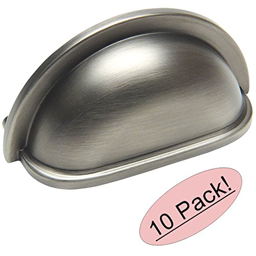 Pull Cup Cabinet Antique (10 Pack - Cosmas 4310AS Antique Silver Cabinet Hardware Bin Cup Drawer Handle Pull - 3