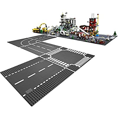 LEGO City T-Junction and Curve Plate and Straight and Crossroad Plate Bundle: Toys & Games