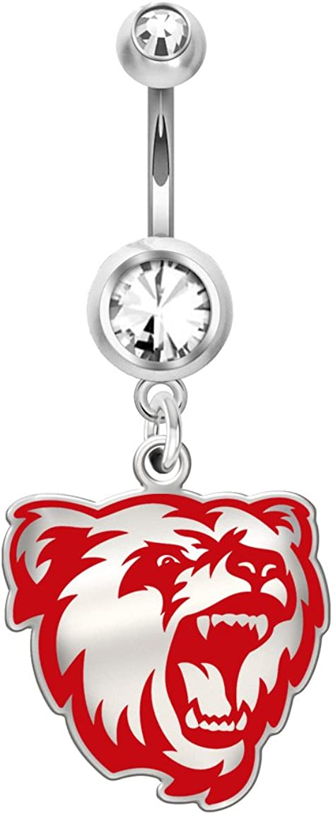 Stainless Steel Bridgewater State Bears Belly Navel Ring Sterling Silver and Color Logo