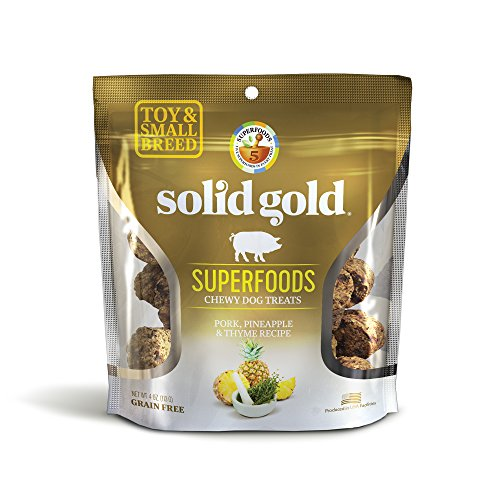 Solid Gold Superfoods Treats for Small & Toy Breeds; Pork, Pineapple & Thyme Recipe; Grain Free Chewy Dog Treats; 4 oz Pineapple Treat