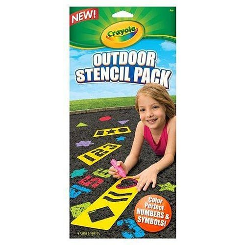 Crayola Outdoor Stencil Pack, Color Perfect Numbers & Symbols , 9 Stencil Sheets ()