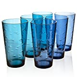 Etched Fish Pattern Premium Quality Plastic 20oz Water Tumbler | Set of 6 in 2 Assorted Colors