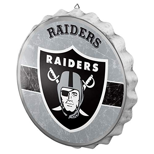 - Oakland Raiders Metal Distressed Bottlecap Sign
