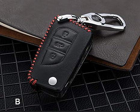 Tuqiang Telecomando Chiave Auto Custodia Chiavi in Pelle con Portachiavi per Toyota Corolla Camry RAV4 Highlander Inteligente Chiave 3 Pulsante