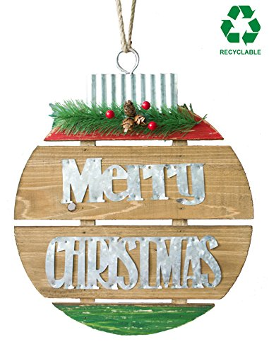 GIFTME 5 Wooden Wall Plaque Galvanized Merry Christmas Sign with Solid Pine Wood Hanging Wall Plaque Christmas Wall Decorations by (11.5x14 inch) ()