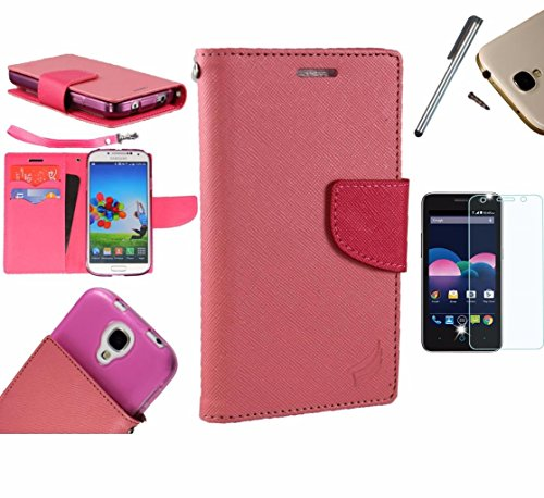 Photo - For Microsoft Lumia 550 Phone Case PU Leather Flip Cover Folio Book Style Pouch Card Slot Wallet + [WORLD ACC®] LCD Screen Protector+ Stylus (Pink/Hot Pink)