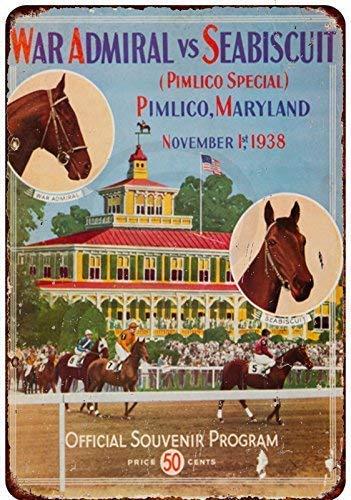 Nice Tin Sign Aluminum Retro 1938 Seabiscuit at Pimlico Horse Race Vintage Metal Sign 8 X 12 ()