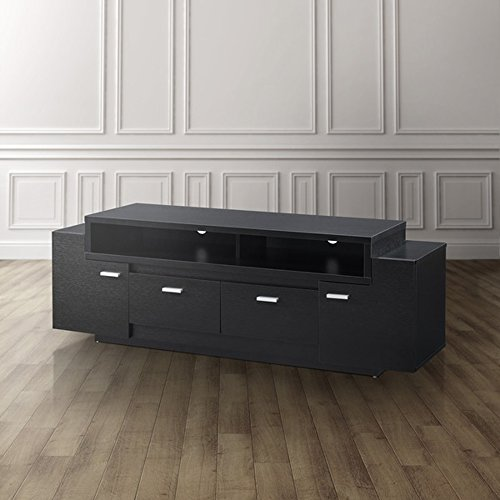 60' Black Tv Console - Modern TV Stand for flat screens, Accent Tiered 60'' TV Console, Storage Drawers and Cabinets (Black)