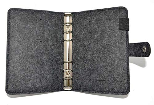 A6-6 Ring Binder Cover(Dark Gray) Wool Felt Journal-Notebook-Pocket Planner Cover with Index Dividers and Card Pocket for 2018-2019 Trip Planner/Travel Diary/Holiday Gift