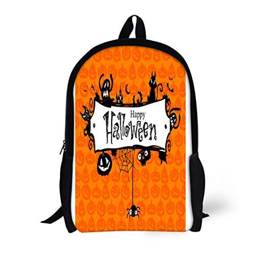 (Pinbeam Backpack Travel Daypack Orange Border Halloween Red Pumpkin Pattern Lantern Vintage Waterproof School)