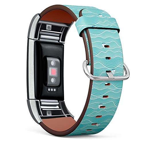 (Compatible with Fitbit Charge 2 - Leather Watch Wrist Band Strap Bracelet with Stainless Steel Clasp and Adapters (Abstract Sea Sailboats))