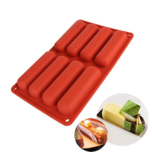 Emousport Cake Tools Silicone Classic Collection Shapes finger Orange Non Stick Eclair 8 Forms Silicone Baking Mold