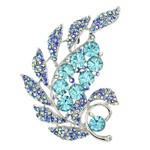 SP Sophia Collection Wind Flare Clustered Crystal Cubic Zirconia Paved Leaf Fashion Decorative Brooch in Topaz -
