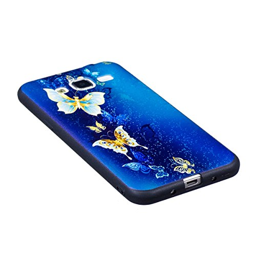 Carcasa Samsung Galaxy J3 2015/2016, Funda Samsung Galaxy J3 2015/2016 Silicona Negra, EUWLY Alta Calidad Suave Funda Caso Ultra Delgado Ligero Negro Silicona TPU Flexible Gel Protectora Parachoques C Mariposa Azul Oro