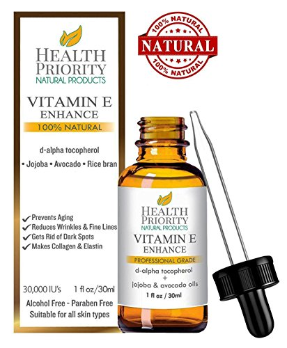 100% Natural & Organic Vitamin E Oil For Your Face & Skin, Unscented - 15,000/30,000 IU - Heals Stretch Marks & Surgical Scars. Essential Drops Lighter Than Cream or Gel. Raw Vit E Extract Sunflower. (Best Lip Balm To Make Lips Pink)