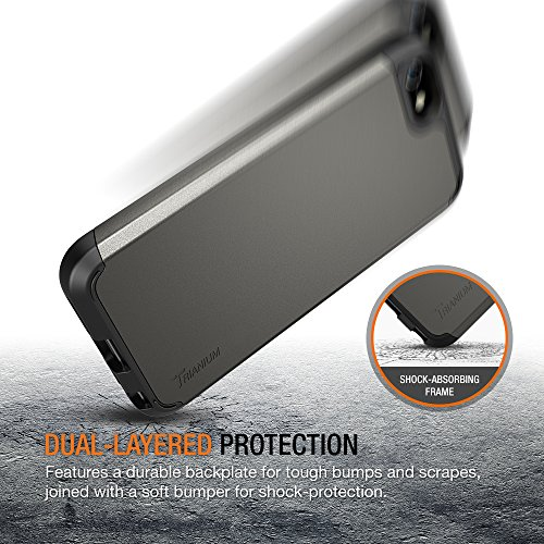 iPhone SE Case, Trianium [Protak Series] Ultra Protective Cases For Apple iPhone SE (2016) & iPhone 5S 5 [Gunmetal Gray] Dual Layer + Shock-Absorbing Hard Bumper Cover