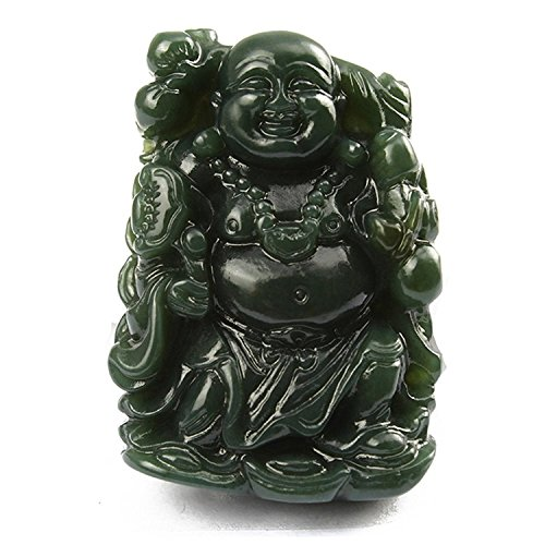 (c1lint7785631 100% pure natural green jade hand carved Lucky Happy laughter maitreya Buddha Necklace)