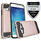 Galaxy On5 Case With Tempered Glass Screen Protector, SAUS Hybrid Hard Shockproof Slim Fit Brushed Shockproof Protector Cover Heavy Duty Protective Case For Samsung Galaxy On5/G550 (Rose Gold)