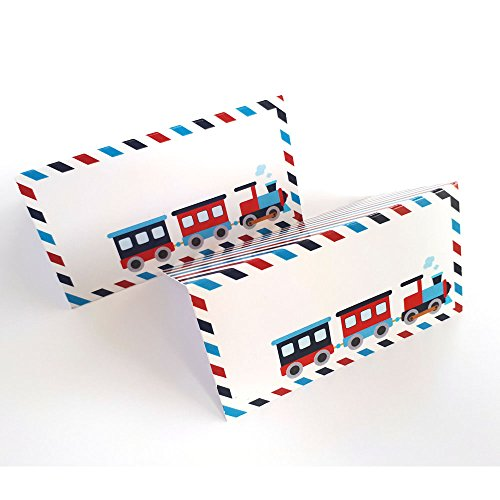 - All Aboard Train Place Tent Cards - Boy Birthday Baby Shower Locomotive Party Supplies - Set of 12