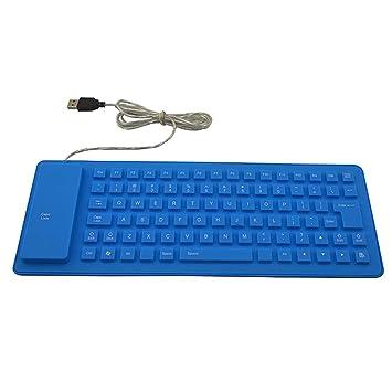 HNMK 1 Unid Impermeable USB con Cable Teclado Portátil 85 Teclas Silencioso Silicona Plegable con Cable Teclado para Tablet Pc: Amazon.es: Electrónica