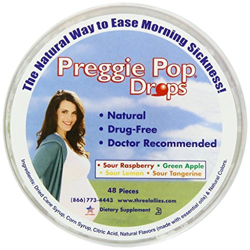 Pregnancy Nausea Relief - Three Lollies Value Preggie Pop Drops Assorted for Morning Sickness Relief, 48 Count