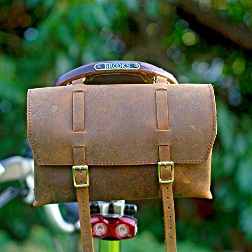 CALYX IN Large Saddle Bag Vintage Leather Bicycle Handlebar Bag Halloween Retro Vint Brown (Best Retro Bikes In India)