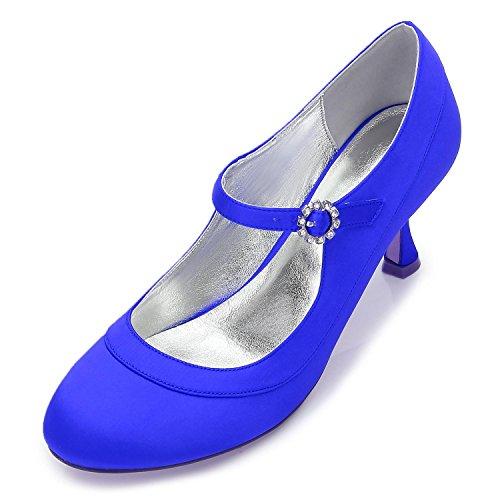 MariéE Femmes Satin Chaussures Pour Mariage De YC La à à F17061 blue Base Talons Bas Talons 41 L De à Hauts Chaussures En gXwqZ1