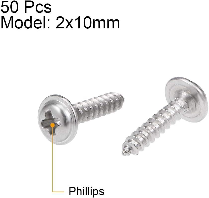 Sourcingmap Tornillos autorroscantes Phillips con cabeza de tornillo de acero inoxidable 50 unidades