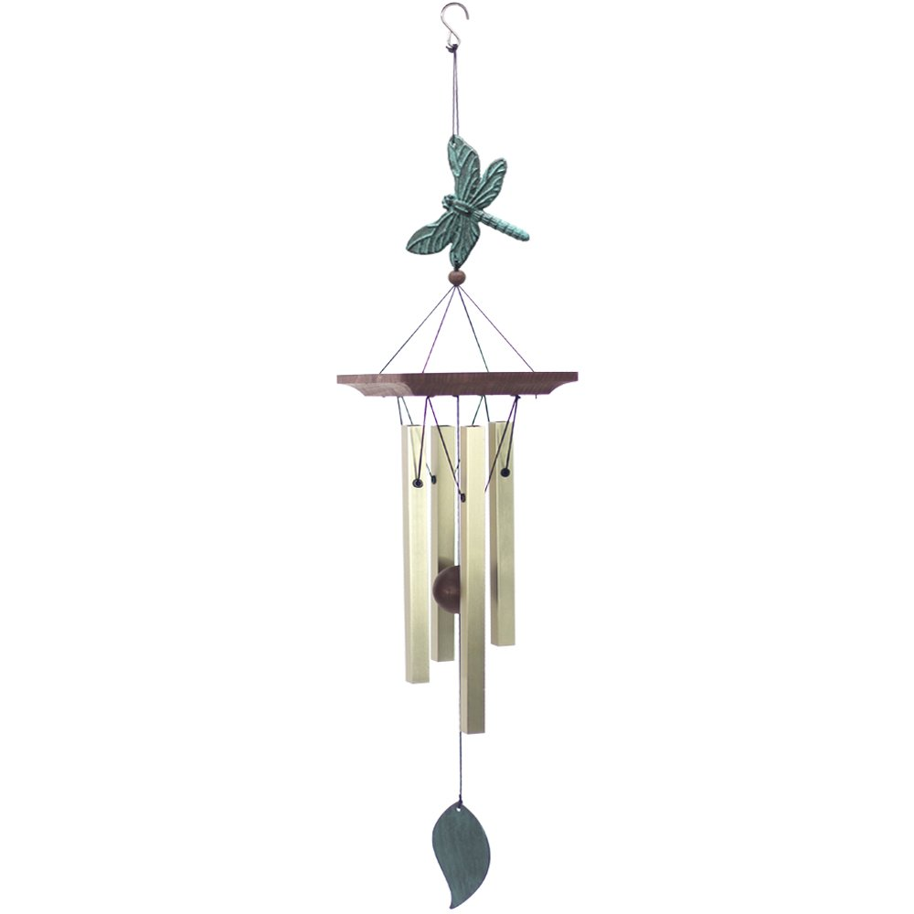 """Wind Chimes Amazing Grace Personalized Outdoor,Unique Bird Wind Chimes Collection Dragonfly Garden Wind Chimes Memorial with 4 Square Metal Tubes for Patio Home Garden Yard Outdoor Decor,Golden 25"""""""