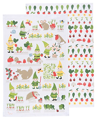 Now Designs Teatowels, Set of Two, Gnome Sweet Gnome Prnt ()