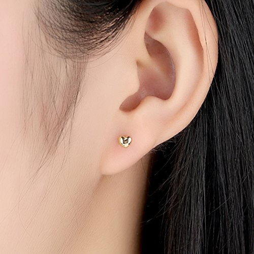 Bamoer 18K Gold Plated Love Heart Shape Earrings Stud for Anniversary Gift by BAMOER (Image #2)