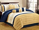 yellow and blue bedding - Luxlen 7 Piece Closeout Luxury Embroidery Bed in Bag Comforter Set, Queen, Blue/Yellow
